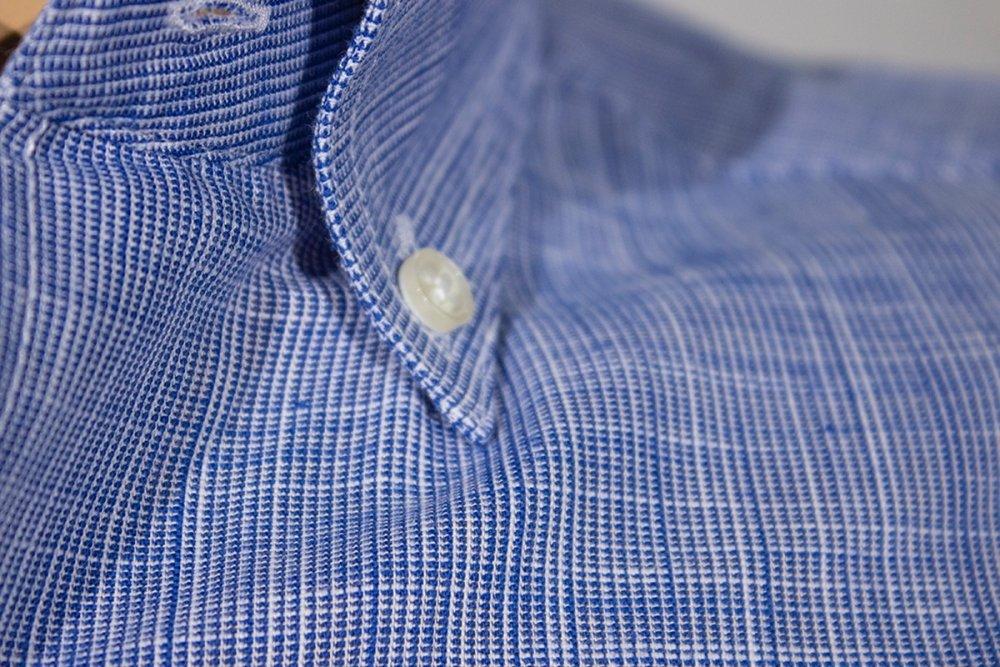 Keten Pamuk Gömlek 674 - 7 Mavi