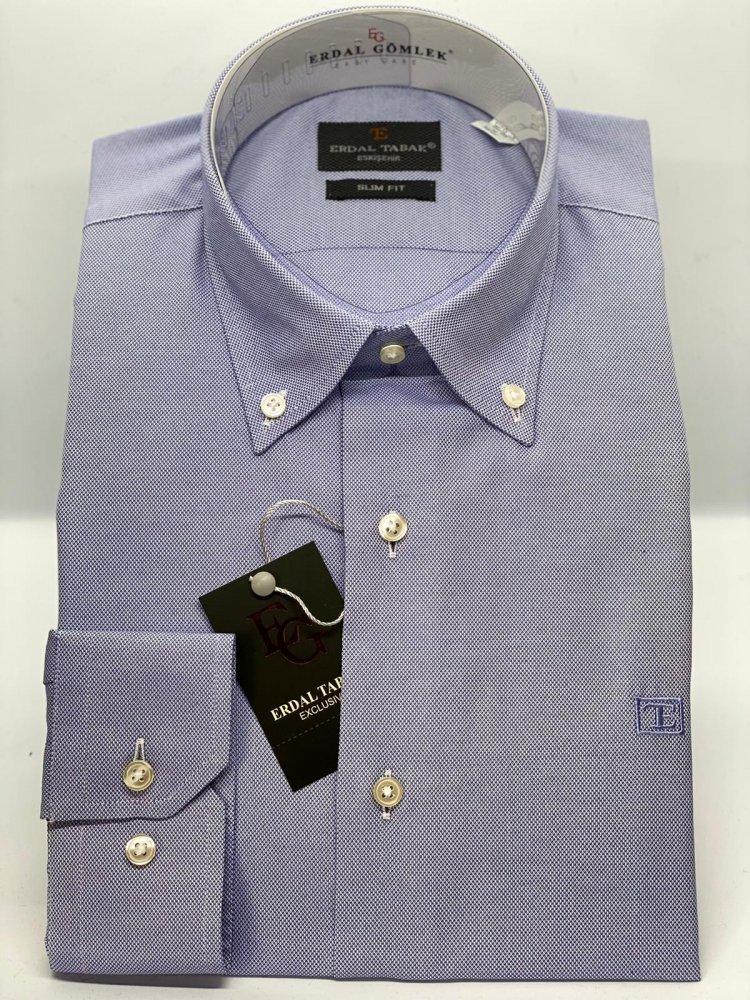 Slim Fit Oxford Mavi 751x - 4
